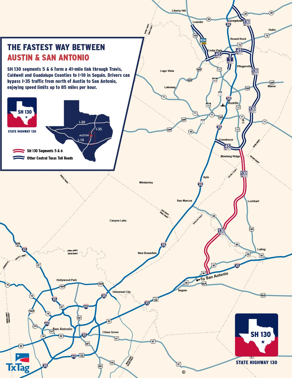 State Highway 130 Maps - SH 130 The fastest way between Austin & San ...