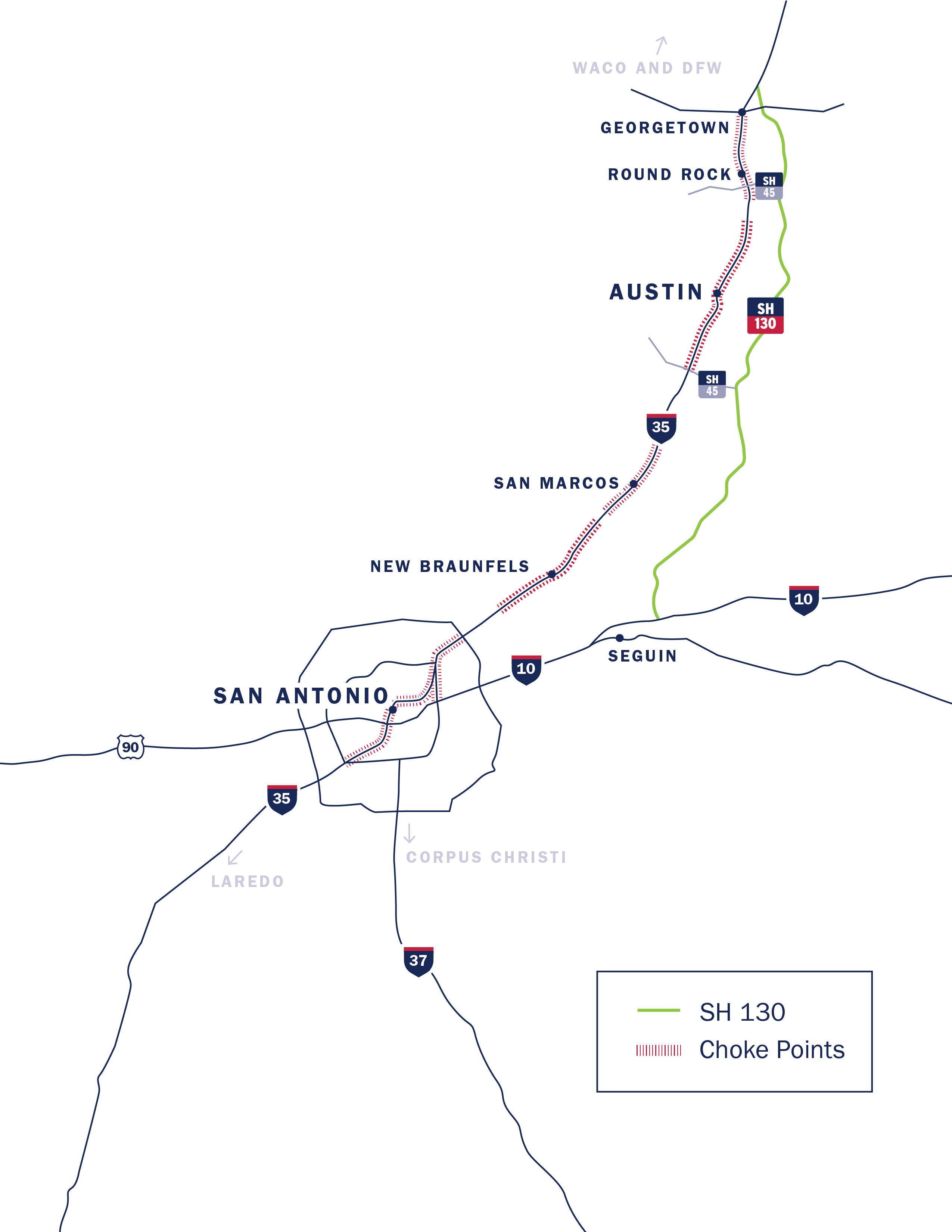 Map of Traffic in Central TX